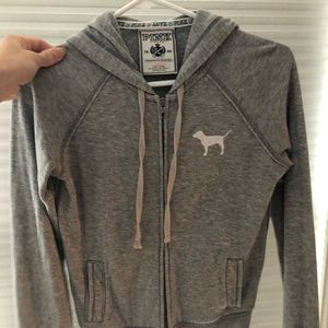 Grey VS pink light weight zip up! Rare!
